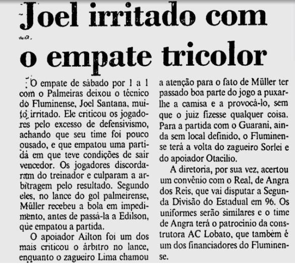 fluminense joel irritado 30 10 1995