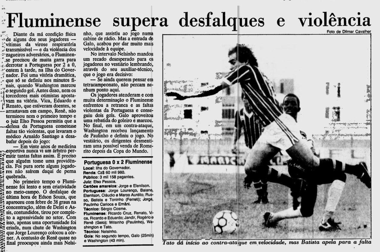 fluminense 2 0 portuguesa 26 05 1986