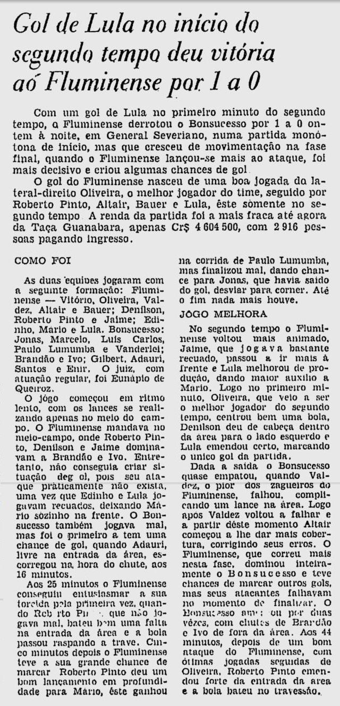 fluminense 09 08 1966 set feature 3 jogo 1 0 sobre bonsucesso